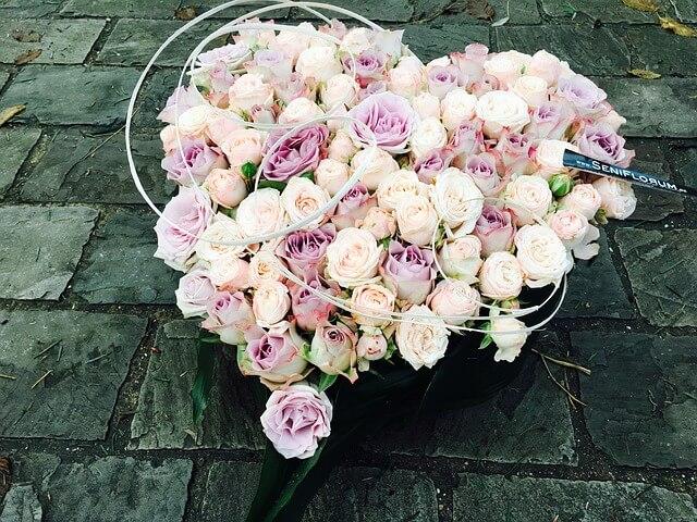 ハート型の花束